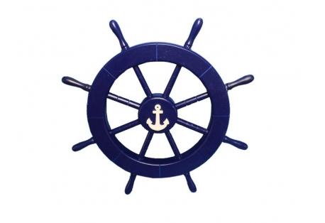 "Blue Decorative Ship Wheel with Anchor 18"""