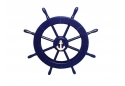 "Rustic Dark Blue Decorative Ship Wheel with Anchor 18"""