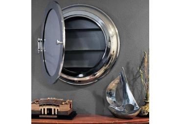 Authentic Brass Porthole Wall Mirror Cabinet Storage