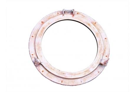 Distressed White Ships Porthole Mirror