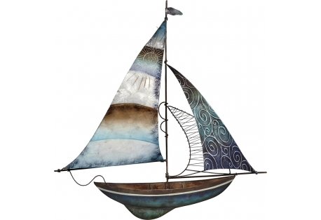 "Seafoam Sailboat w/ Compass Wall Art 22"" nautical décor"