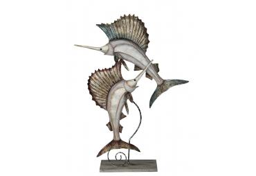 Beige Splendor Sailfish Pair Stand - Metal & Capiz