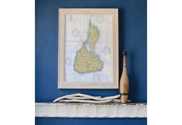 Block Island Nautical Chart Framed Map