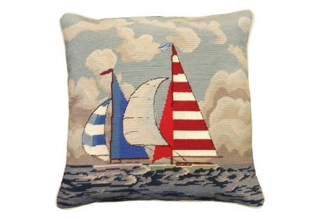 Sailboats regatta needlepoint pillow 100% wool pillow