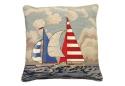 Sailboats Racing Needlepoint Pillow 100% Wool