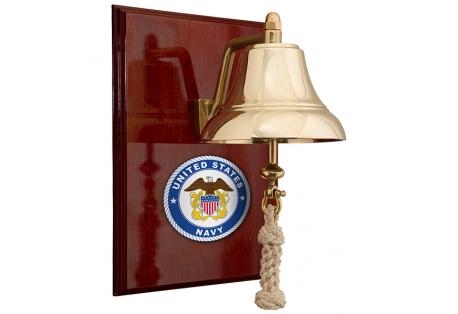 U.S. Navy 6 Brass Bell on 9x12 High Gloss Mahogany Plaque - #8 Emblem