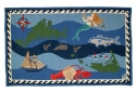 Nantucket Nautical Wool Hooked Rug