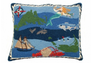 Nantucket Hooked Wool Pillow