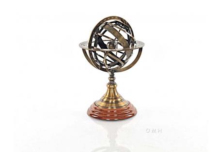 Brass Armillary Sphere on Wood Base