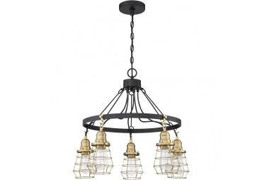 5 lights Satin Brass Chandelier Ceiling Light