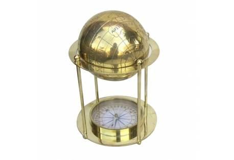 """Brass Globe Standing Compass 8"""""""