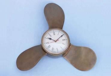 "Vintage Brass Ships Propeller Clock 18"""