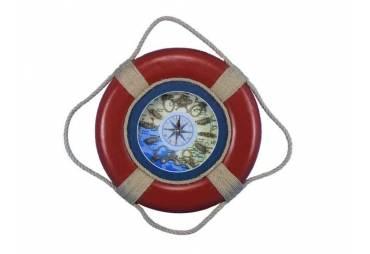 "Vintage Red Decorative Lifering Clock 15"""