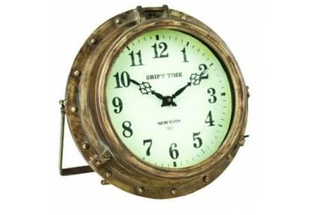 """Iron Rustic Porthole Clock 9"""""""