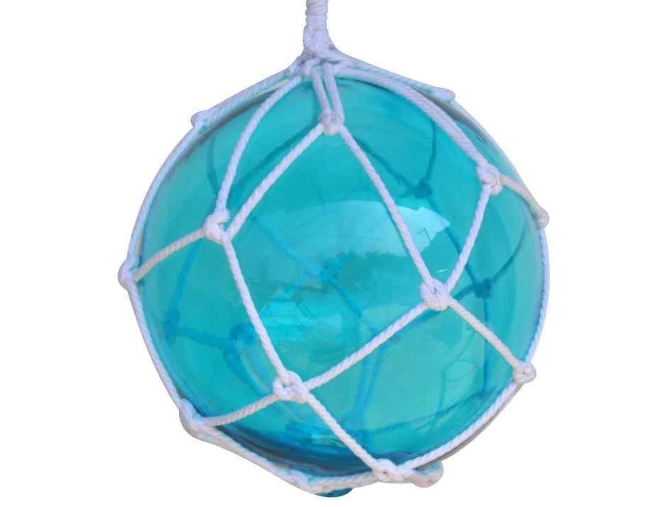 """12/"""" Fish Net Buoys Glass Ball Floats~Nautical Beach Coastal Seashore Decoration"""