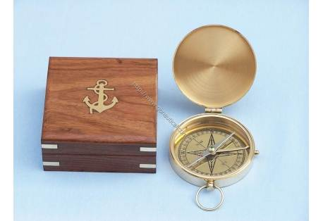 "Brass Gentlemen's Pocket Compass 4"""
