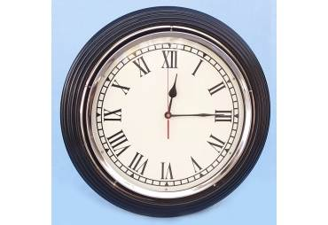 "Black/Chrome Wall Clock 17"""