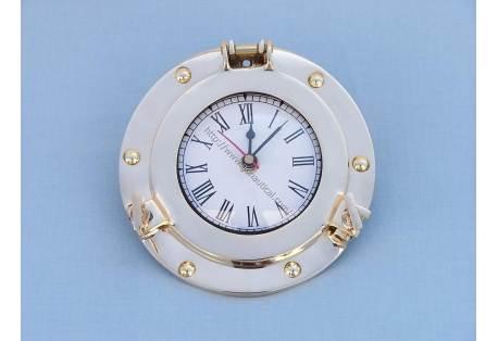 "Brass Porthole Clock 8"""