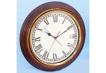 "Rosewood/Brass Wall Clock 17"""
