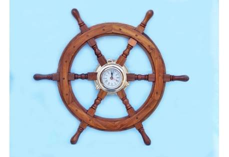 "Ship Wheel Porthole Clock 24"""