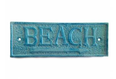 "Light Blue Whitewashed Cast Iron Beach Sign 10"""