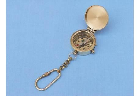 Brass Compass w/Lid Key Chain