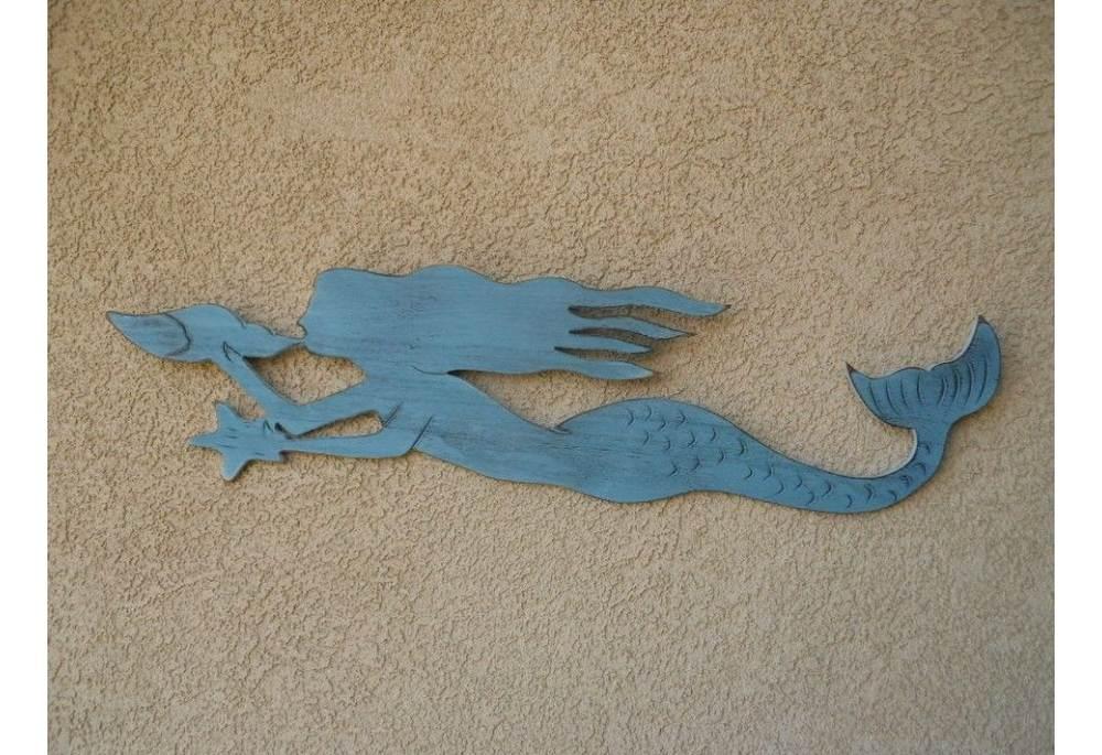 Wooden Nautical Mermaid Rustic Decoration