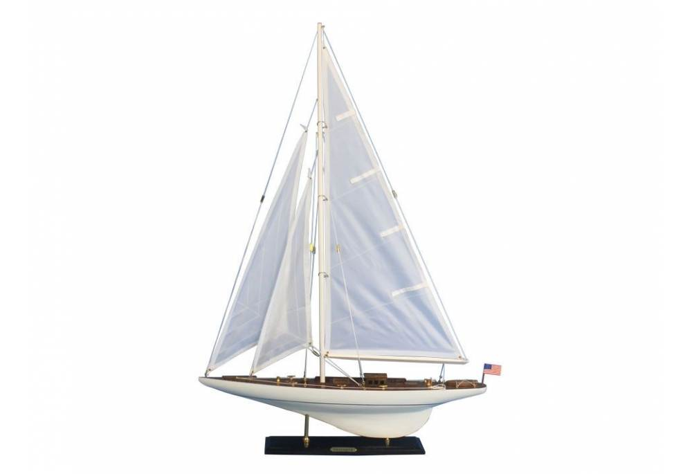 """Wooden White 27/"""" Intrepid Limited Decoration Model Sailboat Fully Assembled"""