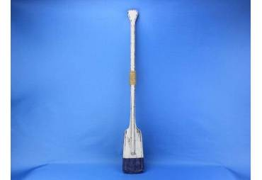 """Wooden Rustic Blue Stripe Oar w/ Hooks 36"""""""