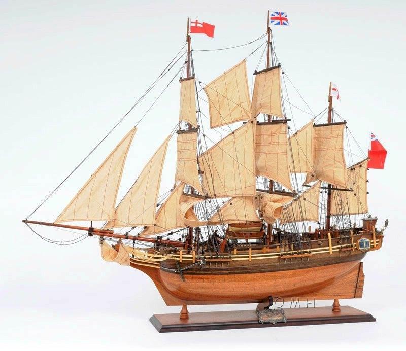 Wooden Handbuilt Hms Bounty Model Ship