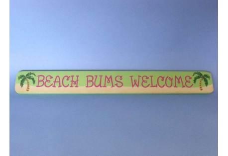 """Wooden Beach Bum Welcome Sign 24"""""""