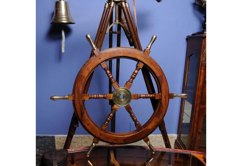 Ship Wheel With Brass Spokes