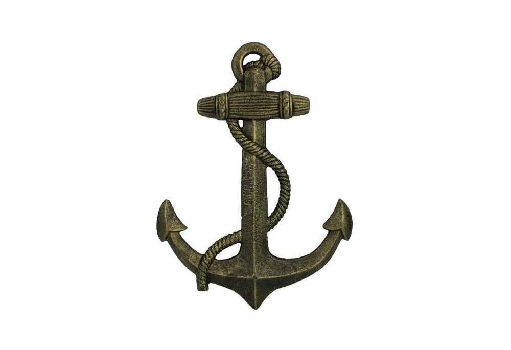 Nautical Wall Decor Antique Gold Cast Iron Anchor
