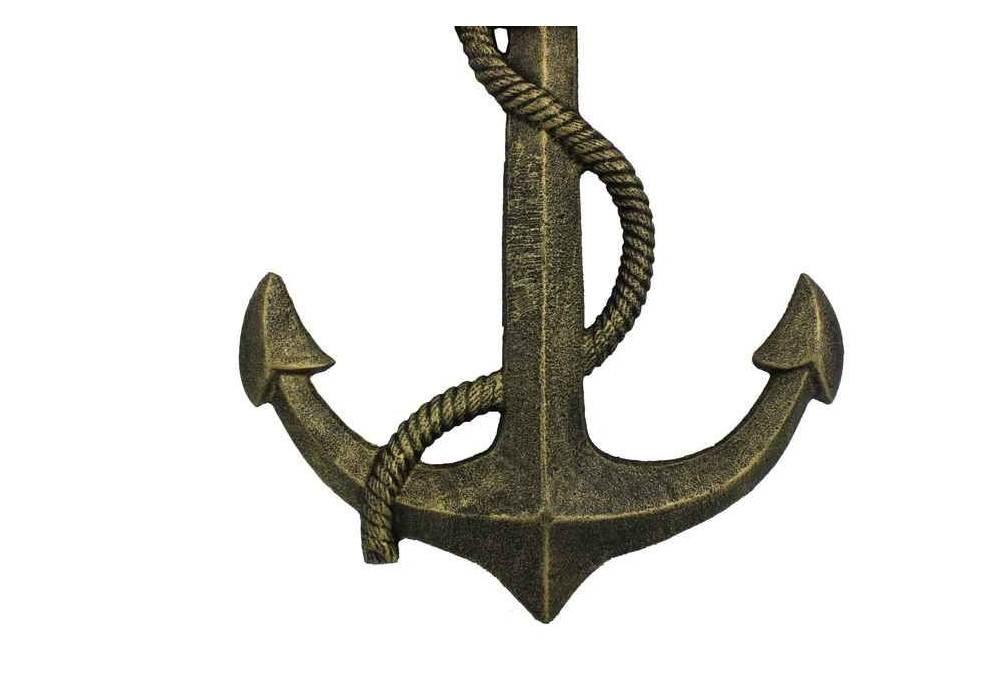 Vintage Anchor Wall Decor : Nautical wall decor antique gold cast iron anchor