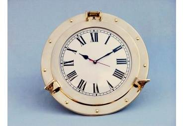 "Brass Porthole Clock 14"""