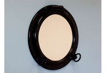 "Gloss Black Finish Porthole Mirror 20"""