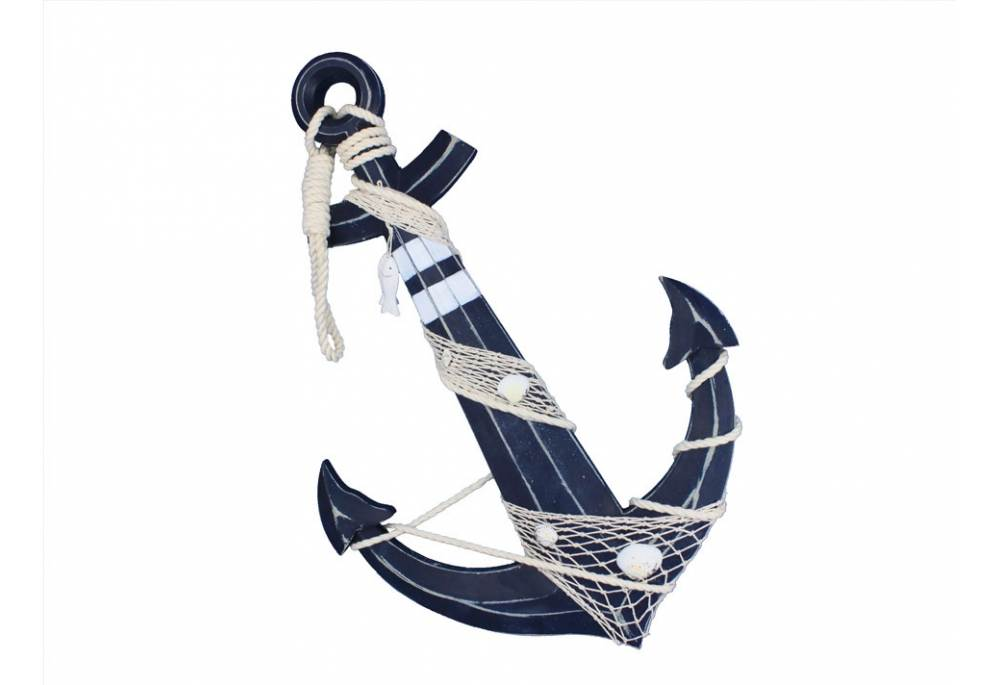 Decorative Wooden Anchor W Hook Rope And Shells