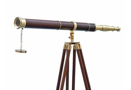"""Admirals Floor Standing Brass with Wood Telescope 60"""""""