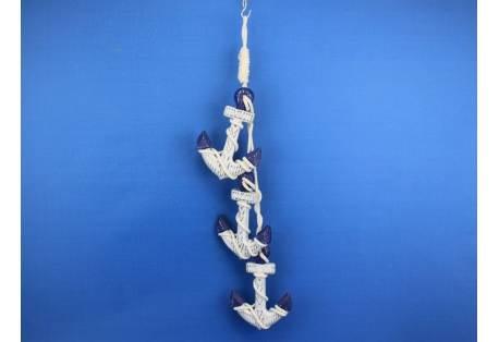 "Wooden Rustic Blue Triple Anchor Set 7"""