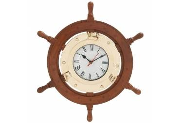 Wood Brass Ship Wheel Porthole Clock