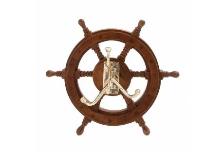 Wood Brass Ship Wheel Wall Hook