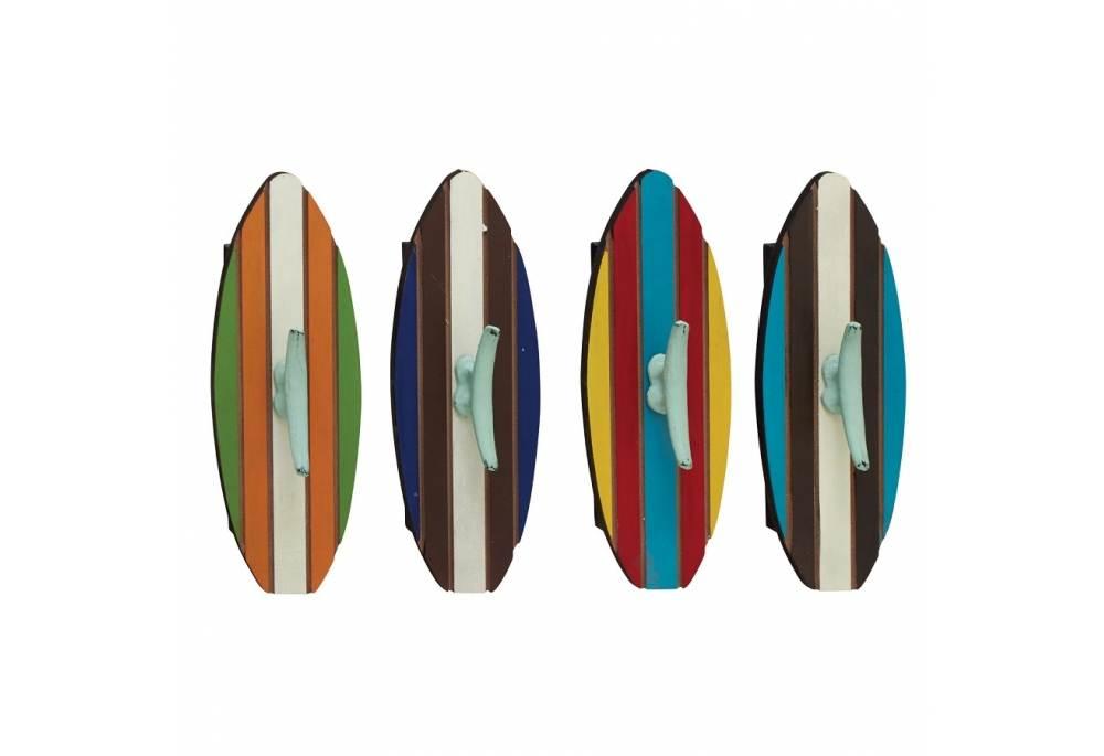 Nautical Wall Decor Surfboards Wood Metal Wall Hook Set of 4