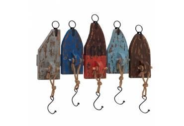 Rustic Nautical Wood Metal Wall Hook