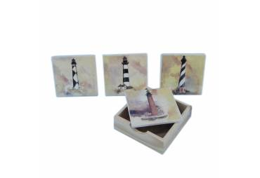 """Set of 4 - Ceramic Lighthouse Coaster 4"""""""