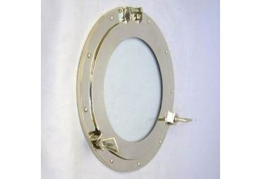 "Brass Porthole Glass, 15"""