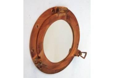 """Antiqued Rustic Porthole Mirror 11"""""""