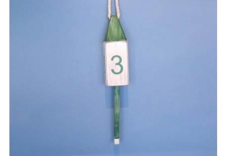 """Wooden Vintage Dark Green Number 3 Squared Buoy 15"""""""