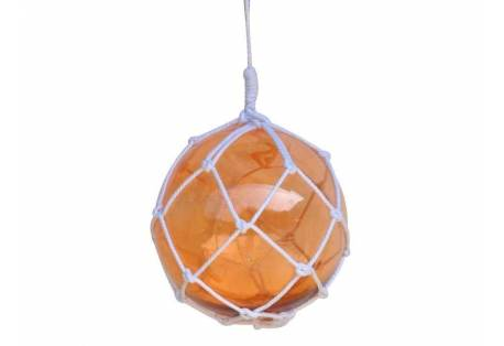 "Orange Japanese Glass Ball Fishing Float With White Netting Decoration 12"""