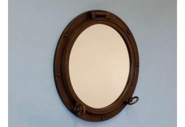 """Bronzed Porthole Mirror 24"""" Nautical Decoration"""