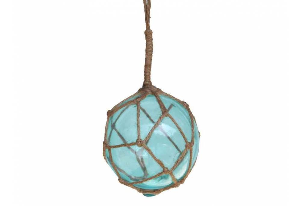 Light Blue Japanese Glass Ball Fishing Float With Brown